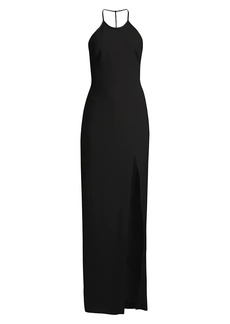 LIKELY Richie Front-Slit Halterneck Gown