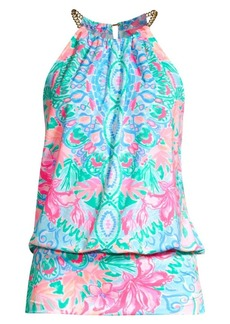 Lilly Pulitzer Bowen Print Chain Halter Popover Top