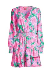 Lilly Pulitzer Cristiana Floral Tier Ruffle Stretch A-Line Dress