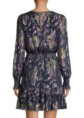 Lilly Pulitzer Dotti Ruffled Printed Metallic Silk Dress