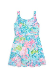 Lilly Pulitzer Girl's Daffodil Floral Crepe Fit-&-Flare Dress