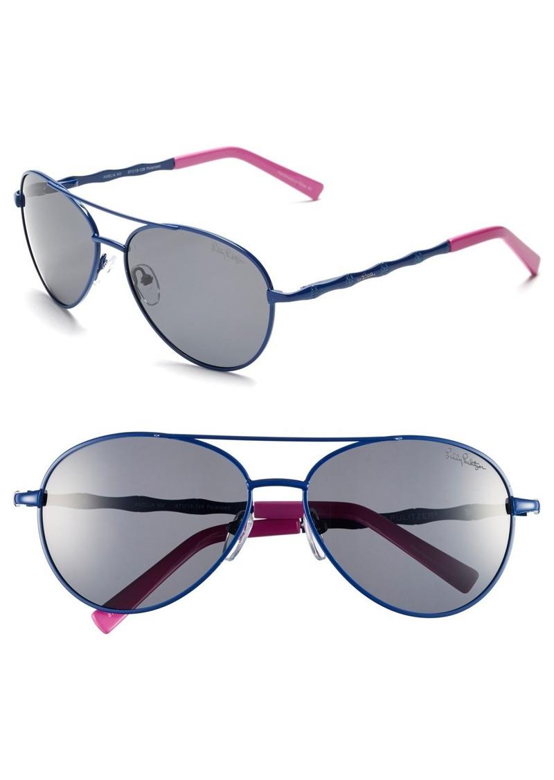 Lilly Pulitzer® 'Amelia' 57mm Polarized Aviator Sunglasses