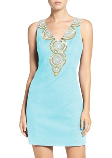 Lilly Pulitzer® 'Gabby' Beaded Neck Cotton Shift Dress