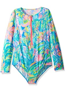 Lilly Pulitzer Girls' Little UPF 50+ Alaina Swimsuit Bennett Blue surf Gysea XL