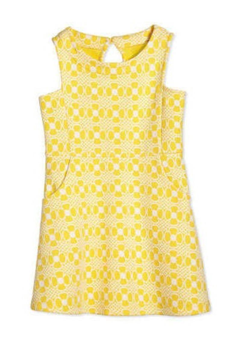 Lilly Pulitzer Jen Daisy-Jacquard Fit-and-Flare Dress, Sunglow Yellow, Girls' Size XS-XL