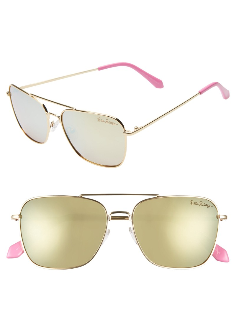 Lilly Pulitzer® Kate 55mm Polarized Aviator Sunglasses