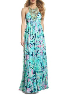 Lilly Pulitzer® Lannette Embellished Chiffon Maxi Dress