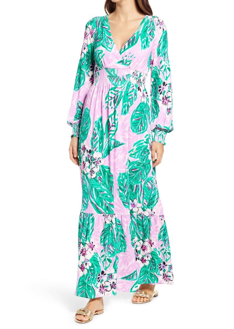 Lilly Pulitzer® Mistral Magnolia Print Long Sleeve Maxi Dress
