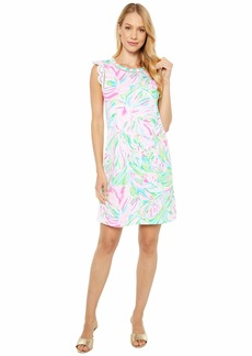"Lilly Pulitzer Women's 19 1/2"" Straight fit Sleeveless Dress with a Crew Neckline and Eyelet Sleeves  SML"