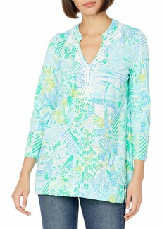 """Lilly Pulitzer Women's 29"""" Garment-Washed Knit Tunic with Band Collar and Custom Soutache Artwork  XS"""