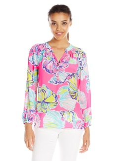 Lilly Pulitzer Women's Elsa Top NP Kir Royal Pink Swept by The Tides Small