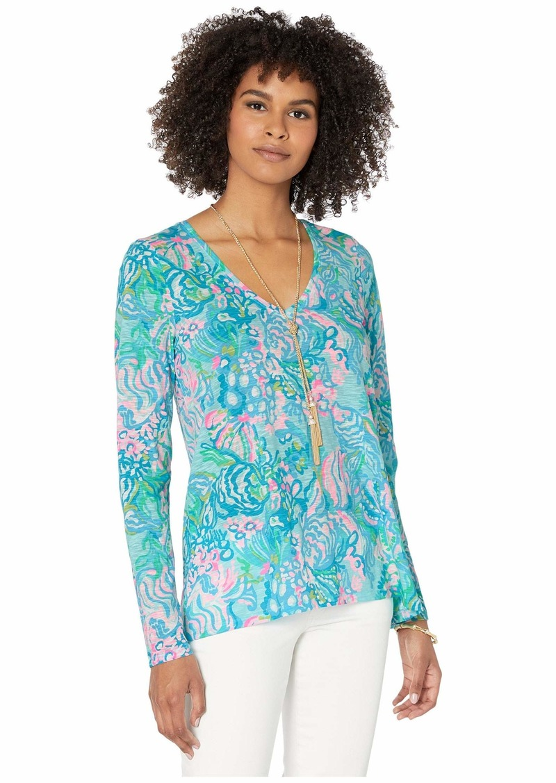 Lilly Pulitzer Women's ETTA Long Sleeve TOP Blue Ibiza Aqua LA Vista XXS