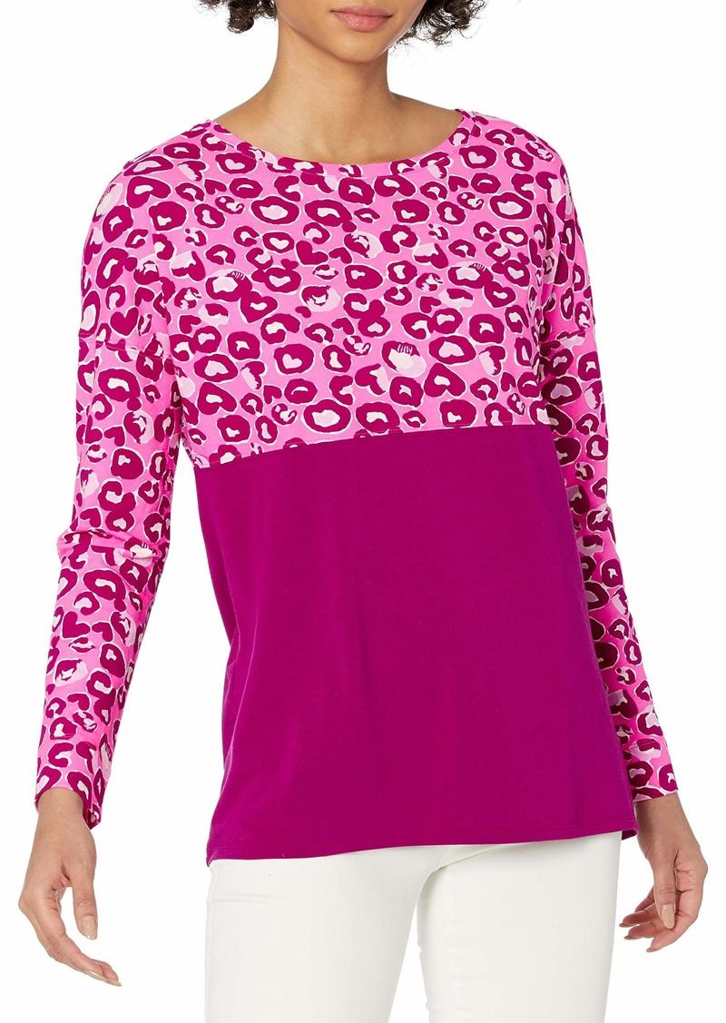 Lilly Pulitzer Women's Finn Long Sleeve Top Mandevilla Pink Dont Be A Cheetah XS