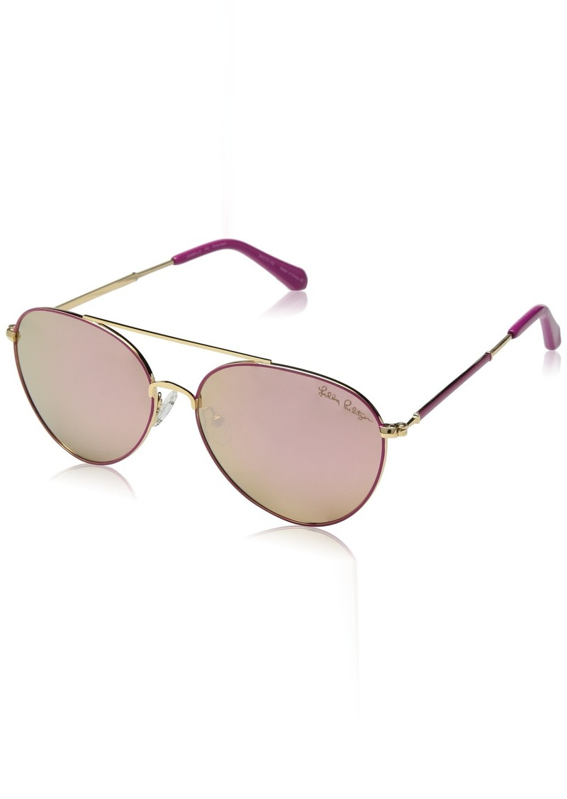 Lilly Pulitzer Women's Isabelle Polarized Aviator Sunglasses PINK