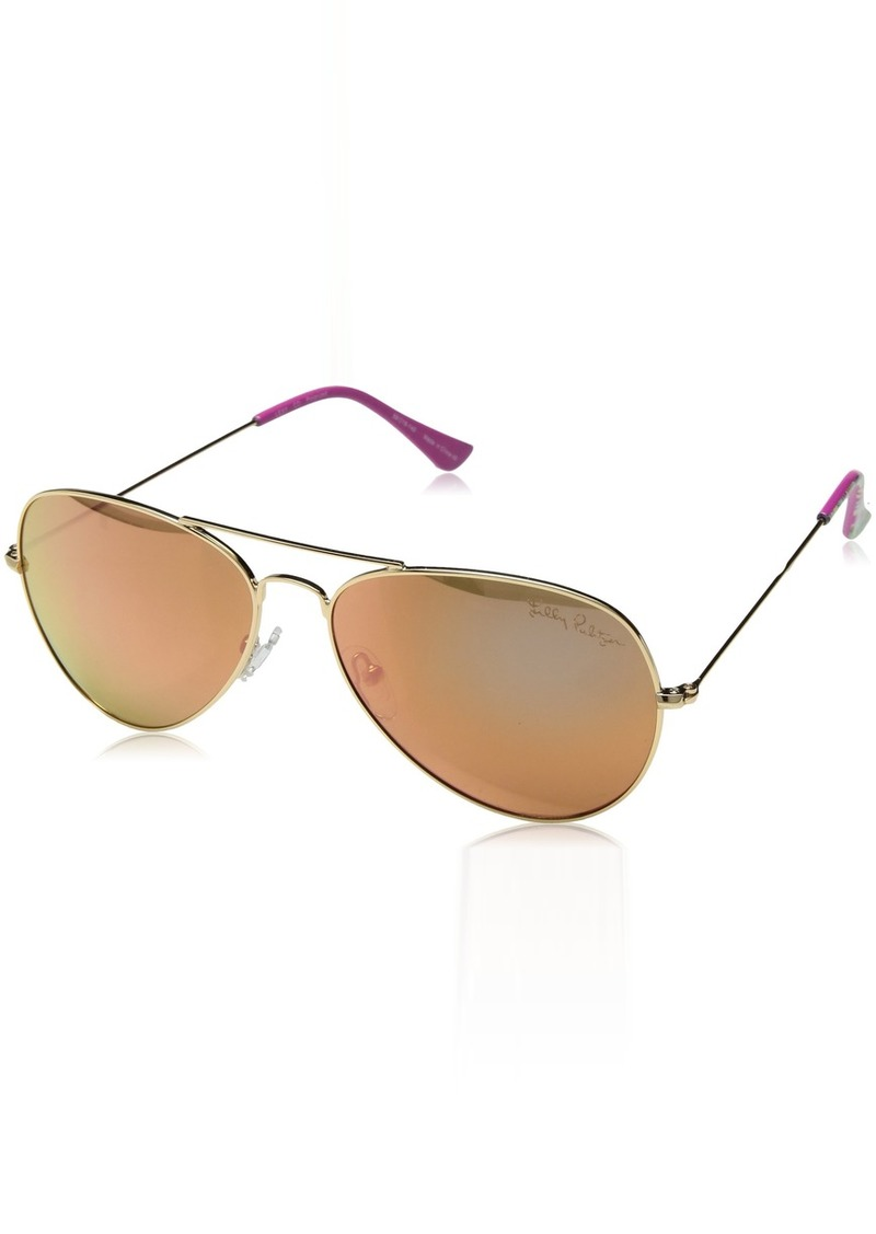 Lilly Pulitzer Women's Lexy Polarized Aviator Sunglasses GOLD 59 mm