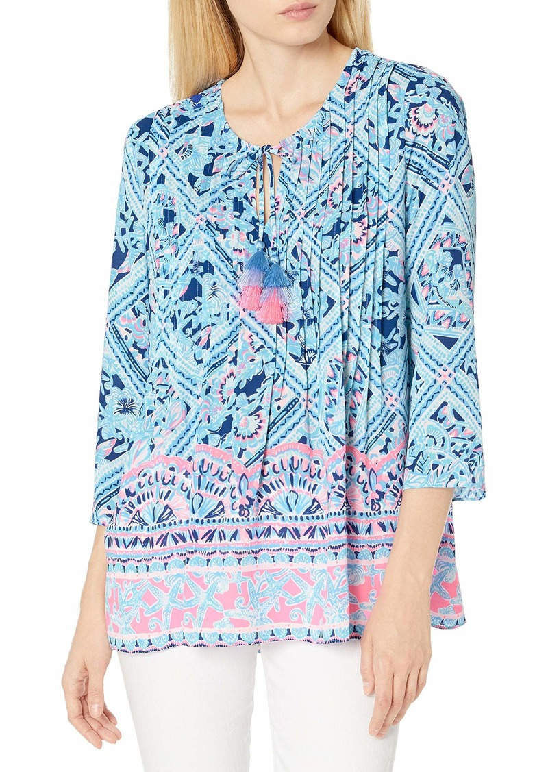 Lilly Pulitzer Women's Marilina Zanzibar Blue Meet Me On The Dock Engineered Tunic S