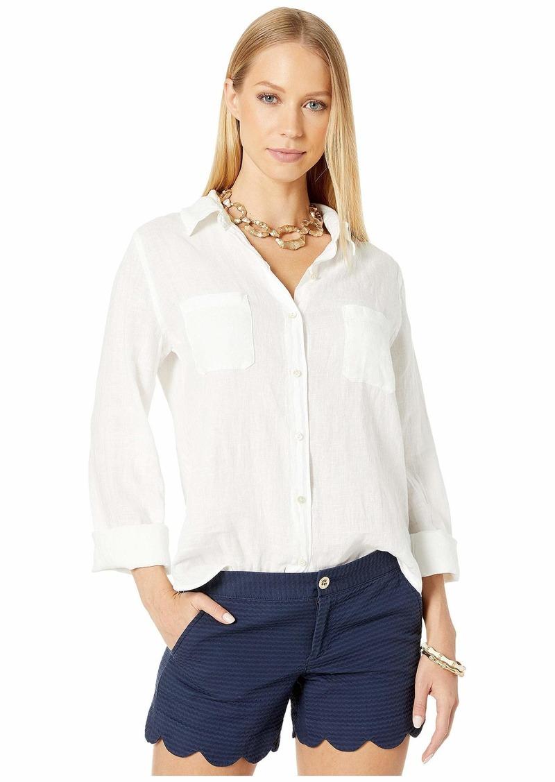 Lilly Pulitzer Women's Sea View Button Down Shirt  XXS