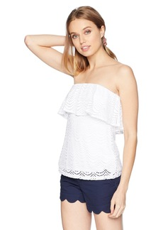 Lilly Pulitzer Women's Wiley Tube Top Resort White Scalloped Shell lace L