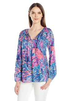 Lilly Pulitzer Women's Willa Top True Blue seas The Day S