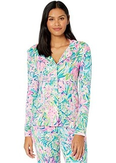 Lilly Pulitzer Pj Knit Long Sleeve Button-Up Top