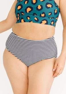 Lime Ricki Midnight Stripe High-Waist Bottom Swimwear Size LARGE