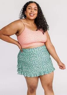 Lime Ricki Tiny Floral Ruffle Ultra High-Waist Skirt w/ Bottoms Swimwear Size Large