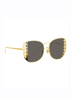 Linda Farrow Amelia 18k Yellow Gold Stained Glass Butterfly Sunglasses