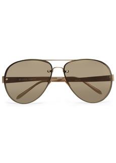 Linda Farrow Woman Aviator-style Gold-tone And Acetate Sunglasses Brown