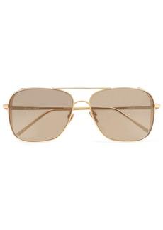 Linda Farrow Woman Aviator-style Gold-tone Sunglasses Gold