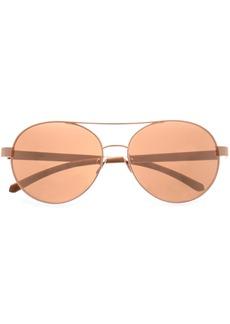 Linda Farrow Woman Aviator-style Rose Gold-tone  And Wood Sunglasses Rose Gold