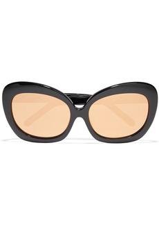Linda Farrow Woman Cat-eye Acetate Mirrored Sunglasses Black