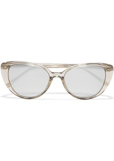 Linda Farrow Woman Cat-eye Acetate Mirrored Sunglasses Clear