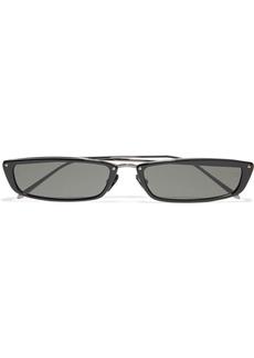 Linda Farrow Woman Issa Rectangle-frame Gunmetal-tone And Acetate Sunglasses Black