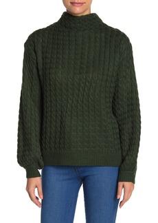 Line & Dot Juniper Cable Knit Mock Neck Sweater