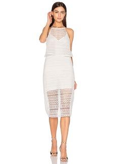 Line & Dot Daiguiri Halter Dress in White. - size L (also in M,XS)