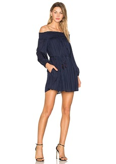 Line & Dot Desi Off the Shoulder Dress in Navy. - size M (also in L,S,XS)