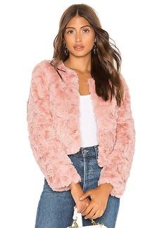 Line & Dot Faux Fur Jacket
