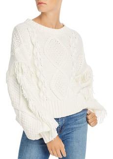 Line & Dot Fringe-Trim Cable-Knit Sweater