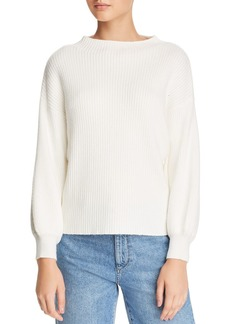 Line & Dot Funnel-Neck Ribbed Sweater