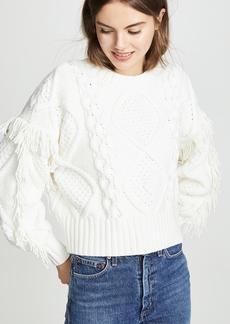 Line & Dot Jasper Fringe Cable Knit Sweater