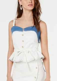 Line & Dot Kay Colorblocked Denim Peplum Top
