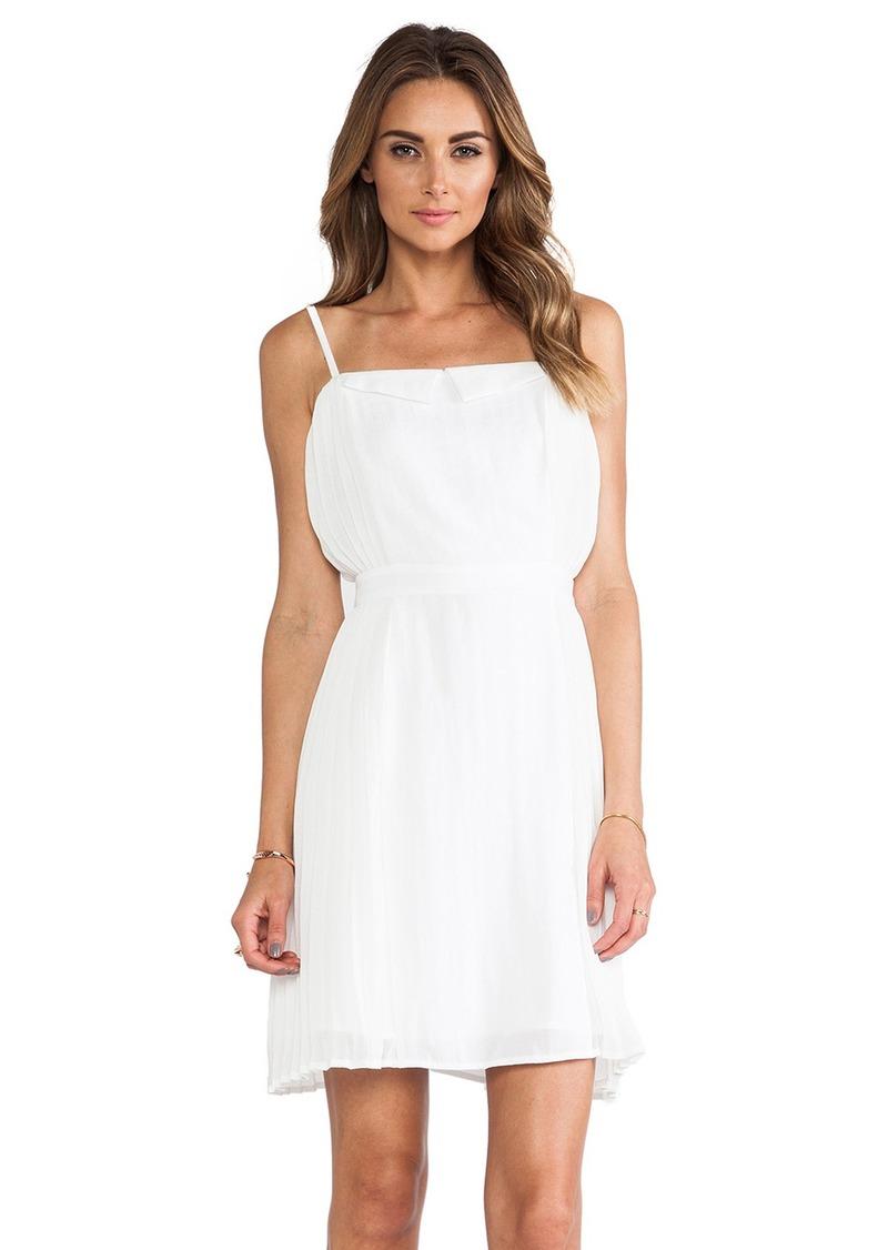 Line & Dot Linen Side Pleated Dress