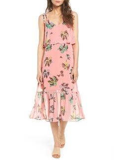 Line & Dot Riza Ruffle Print Midi Dress