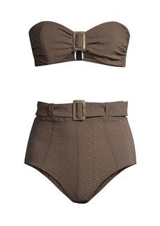 Lisa Marie Fernandez 2-Piece Buckle Bandeau Bikini Set