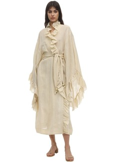 Lisa Marie Fernandez Anita Metallic Linen Blend Gauze Robe