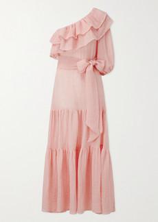 Lisa Marie Fernandez Arden One-sleeve Linen-blend Gauze Maxi Dress