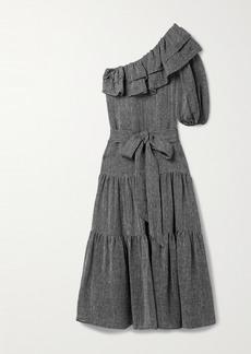 Lisa Marie Fernandez Arden One-shoulder Tiered Organic Linen-blend Gauze Maxi Dress
