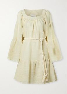 Lisa Marie Fernandez Belted Linen-blend Gauze Mini Dress