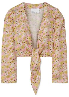 Lisa Marie Fernandez Cropped Floral-print Linen Top