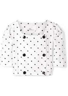 Lisa Marie Fernandez Diana Double-breasted Embroidered Polka-dot Linen Top